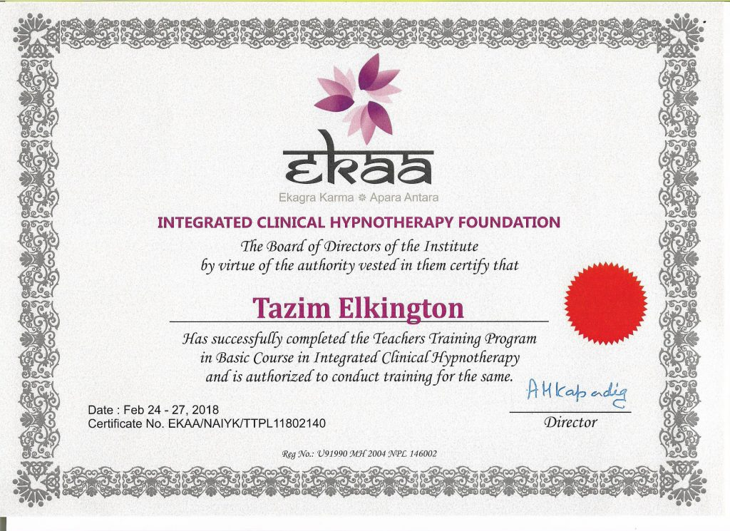 Integrated Clinical Hypnotherapy Teacher Certificate Tazim Elkington